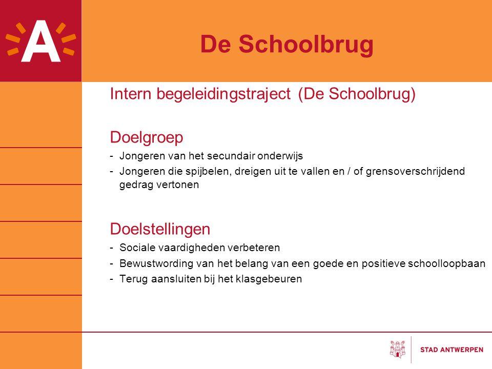 De Schoolbrug Intern begeleidingstraject (De Schoolbrug) Doelgroep -Jongeren van het secundair onderwijs -Jongeren die spijbelen, dreigen uit te valle