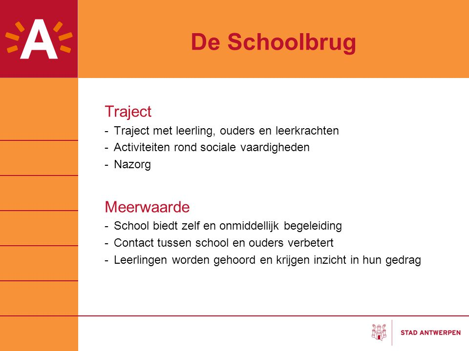 De Schoolbrug Traject -Traject met leerling, ouders en leerkrachten -Activiteiten rond sociale vaardigheden -Nazorg Meerwaarde -School biedt zelf en o