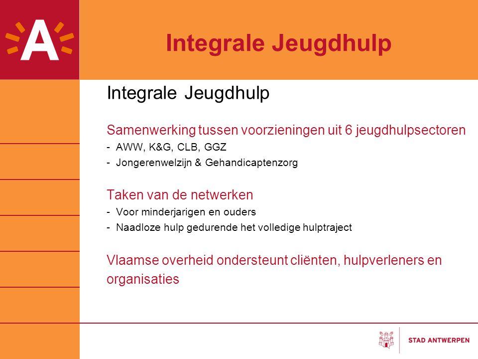 Integrale Jeugdhulp Samenwerking tussen voorzieningen uit 6 jeugdhulpsectoren -AWW, K&G, CLB, GGZ -Jongerenwelzijn & Gehandicaptenzorg Taken van de ne