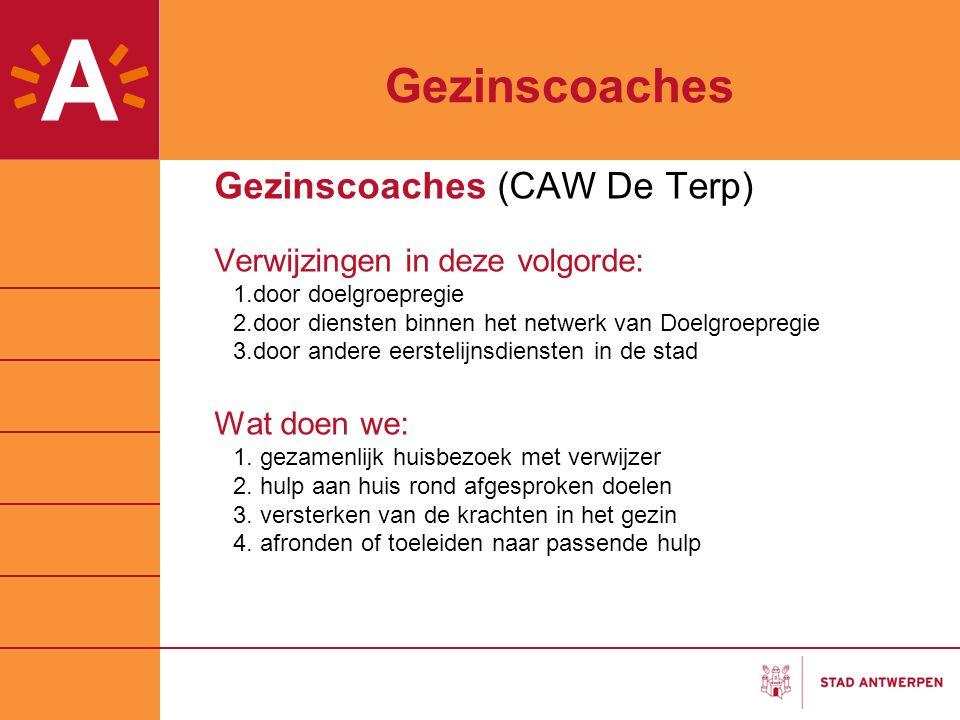 Gezinscoaches Gezinscoaches (CAW De Terp) Verwijzingen in deze volgorde: 1.door doelgroepregie 2.door diensten binnen het netwerk van Doelgroepregie 3