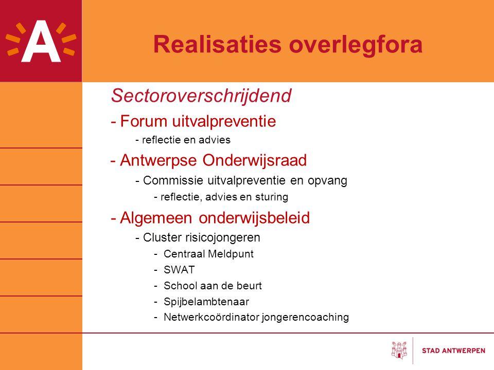 Realisaties overlegfora Sectoroverschrijdend -Forum uitvalpreventie - reflectie en advies -Antwerpse Onderwijsraad - Commissie uitvalpreventie en opva