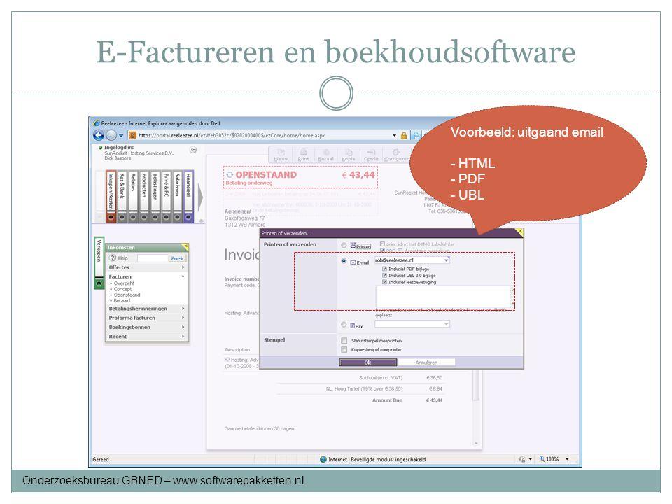 E-Factureren en boekhoudsoftware Voorbeeld: uitgaand email - HTML - PDF - UBL Onderzoeksbureau GBNED – www.softwarepakketten.nl