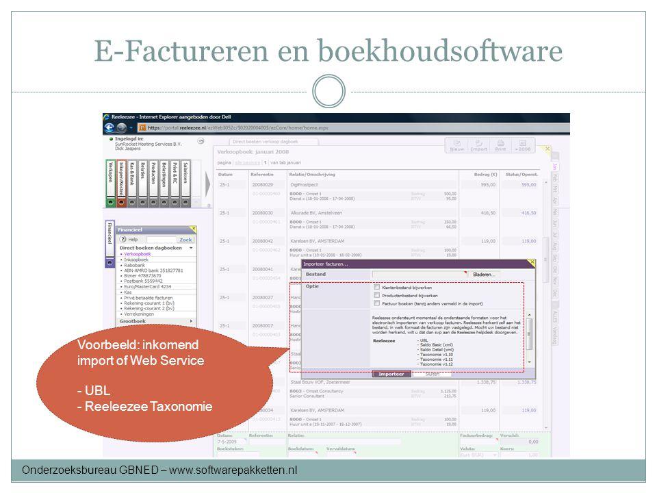 E-Factureren en boekhoudsoftware Voorbeeld: inkomend import of Web Service - UBL - Reeleezee Taxonomie Onderzoeksbureau GBNED – www.softwarepakketten.