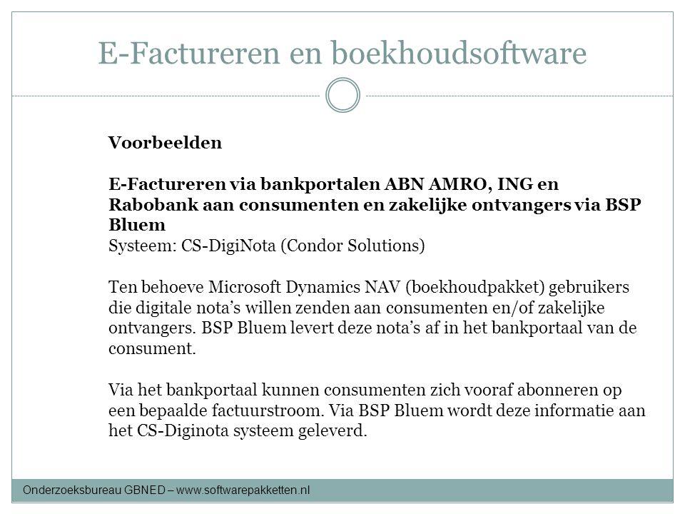E-Factureren en boekhoudsoftware Voorbeelden E-Factureren via bankportalen ABN AMRO, ING en Rabobank aan consumenten en zakelijke ontvangers via BSP B