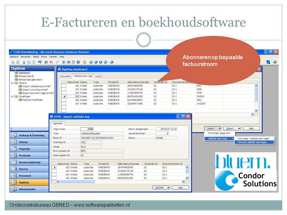 E-Factureren en boekhoudsoftware Abonneren op bepaalde factuurstroom Onderzoeksbureau GBNED – www.softwarepakketten.nl