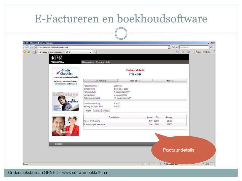 E-Factureren en boekhoudsoftware Factuur details Onderzoeksbureau GBNED – www.softwarepakketten.nl