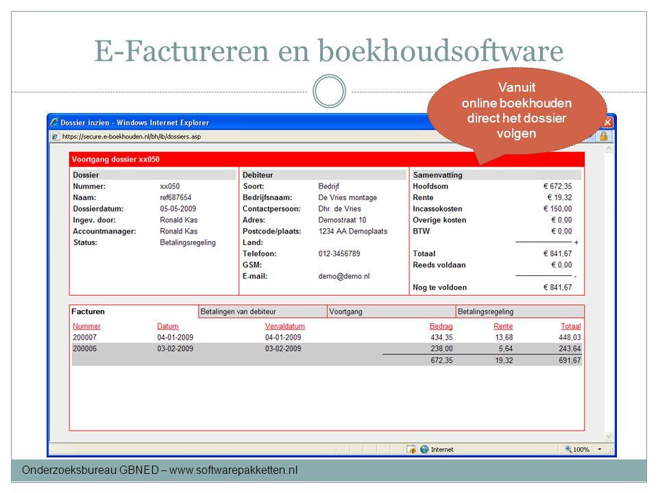 E-Factureren en boekhoudsoftware Maak deze keuze Vanuit online boekhouden direct het dossier volgen Onderzoeksbureau GBNED – www.softwarepakketten.nl