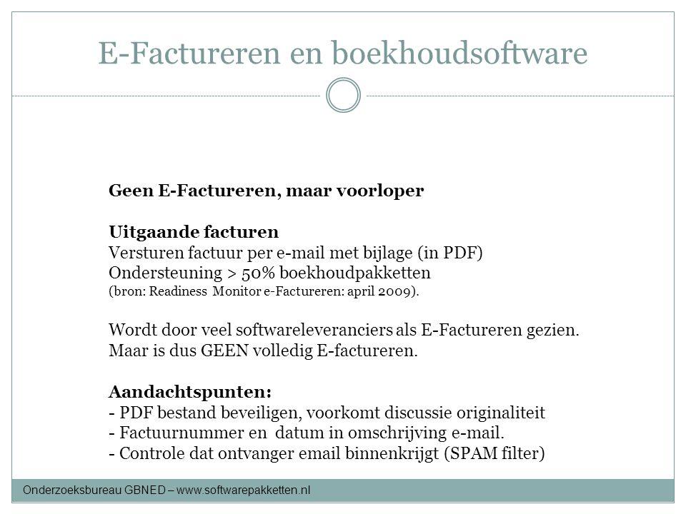 E-Factureren en boekhoudsoftware Onderzoeksbureau GBNED – www.softwarepakketten.nl Geen E-Factureren, maar voorloper Uitgaande facturen Versturen fact