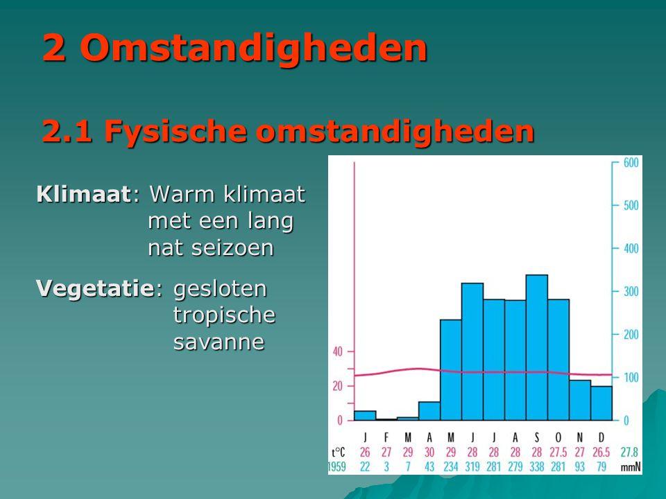 2 Omstandigheden 2.1 Fysische omstandigheden Klimaat: Warm klimaat met een lang nat seizoen Vegetatie: gesloten tropische savanne