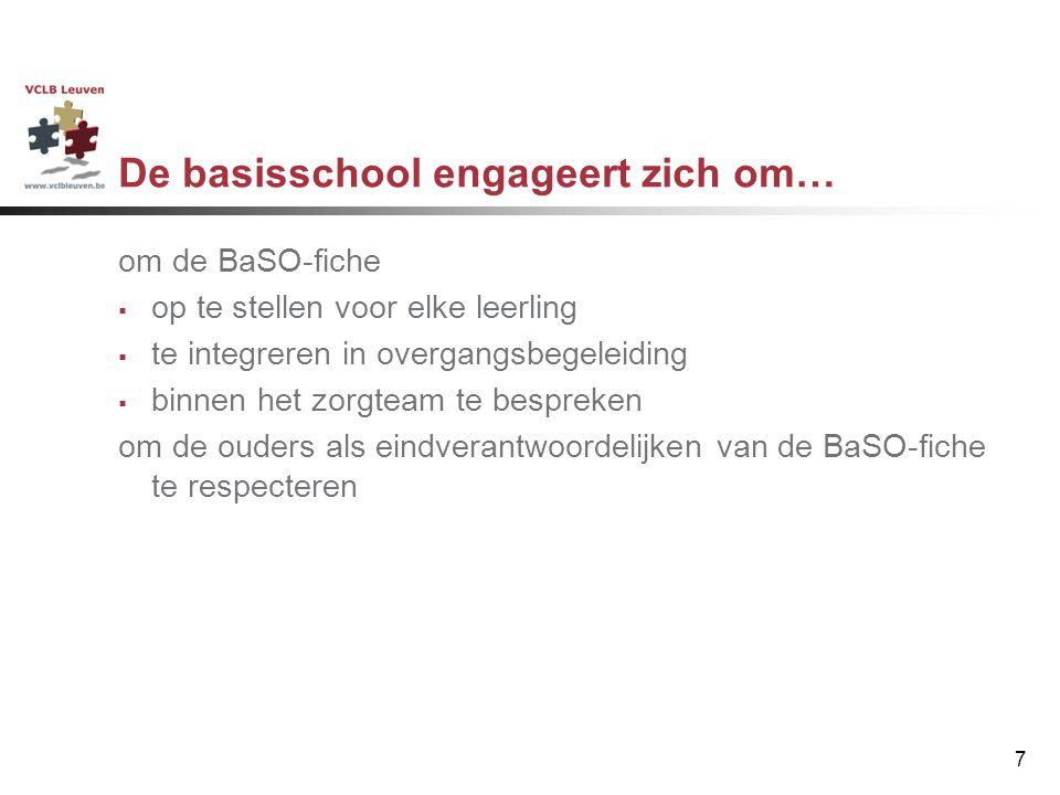 7 om de BaSO-fiche  op te stellen voor elke leerling  te integreren in overgangsbegeleiding  binnen het zorgteam te bespreken om de ouders als eind