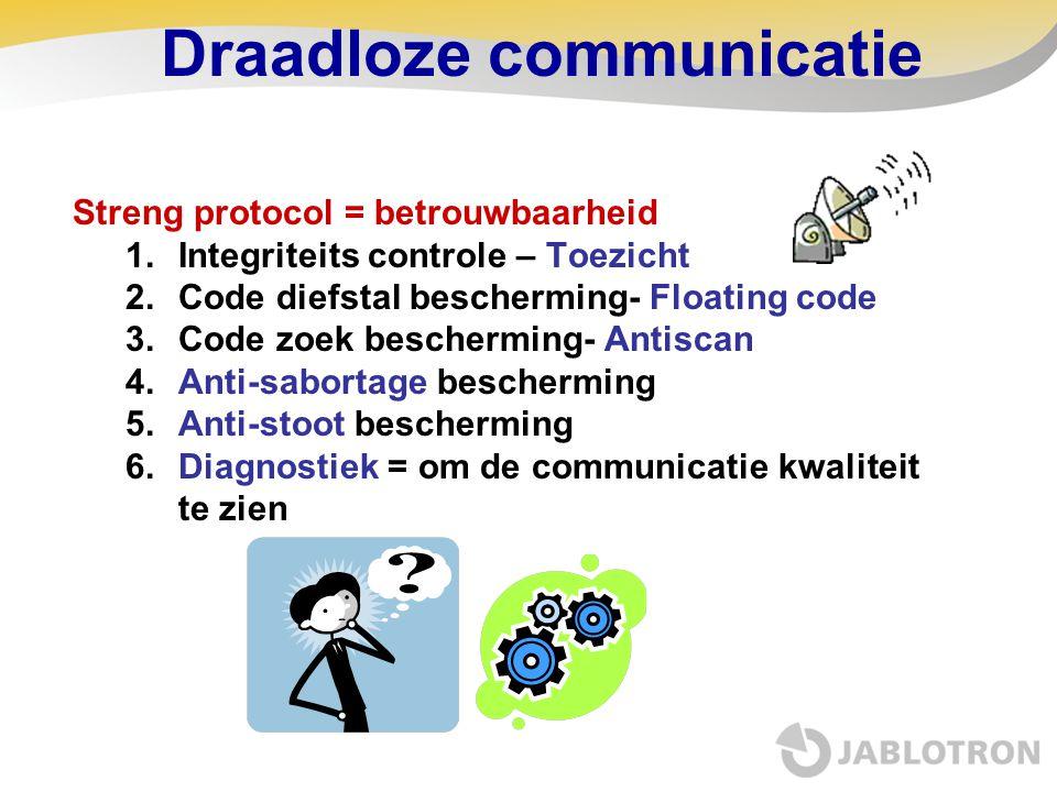 Draadloze communicatie Streng protocol = betrouwbaarheid 1.Integriteits controle – Toezicht 2.Code diefstal bescherming- Floating code 3.Code zoek bes