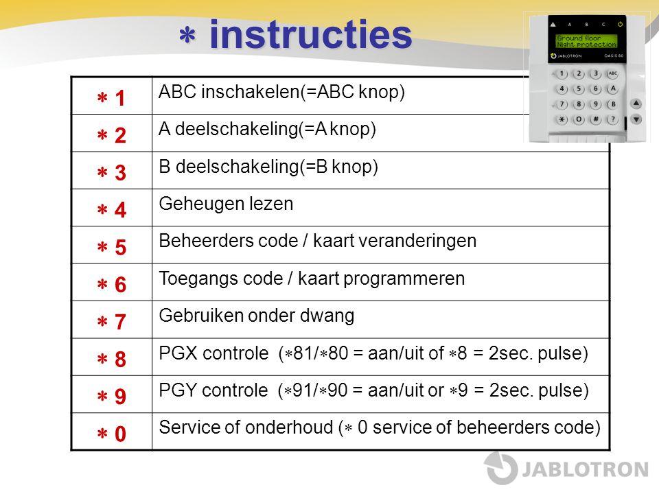  instructies  1 ABC inschakelen(=ABC knop)  2 A deelschakeling(=A knop)  3 B deelschakeling(=B knop)  4 Geheugen lezen  5 Beheerders code / kaar