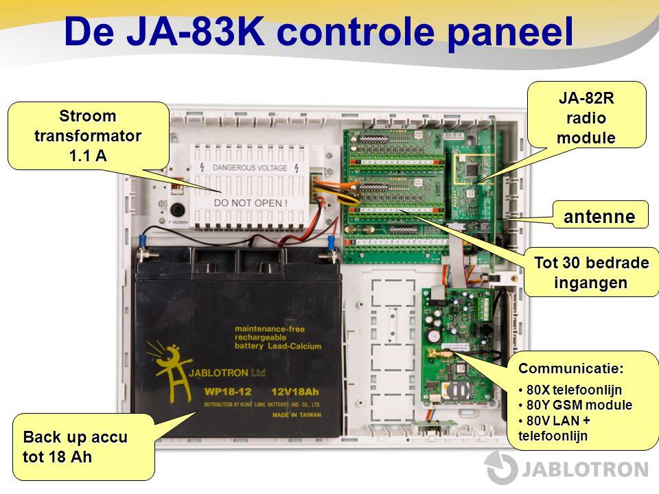 Back up accu tot 18 Ah JA-82R radio module Communicatie: • 80X telefoonlijn • 80Y GSM module • 80V LAN + telefoonlijn Tot 30 bedrade ingangen antenne