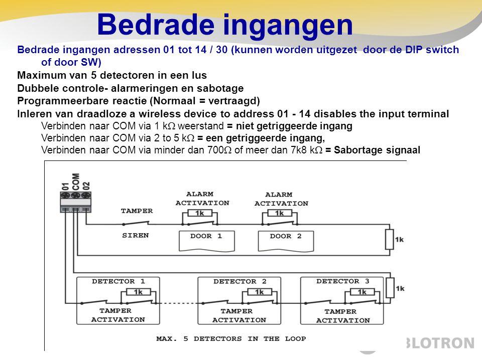 Bedrade ingangen Bedrade ingangen adressen 01 tot 14 / 30 (kunnen worden uitgezet door de DIP switch of door SW) Maximum van 5 detectoren in een lus D