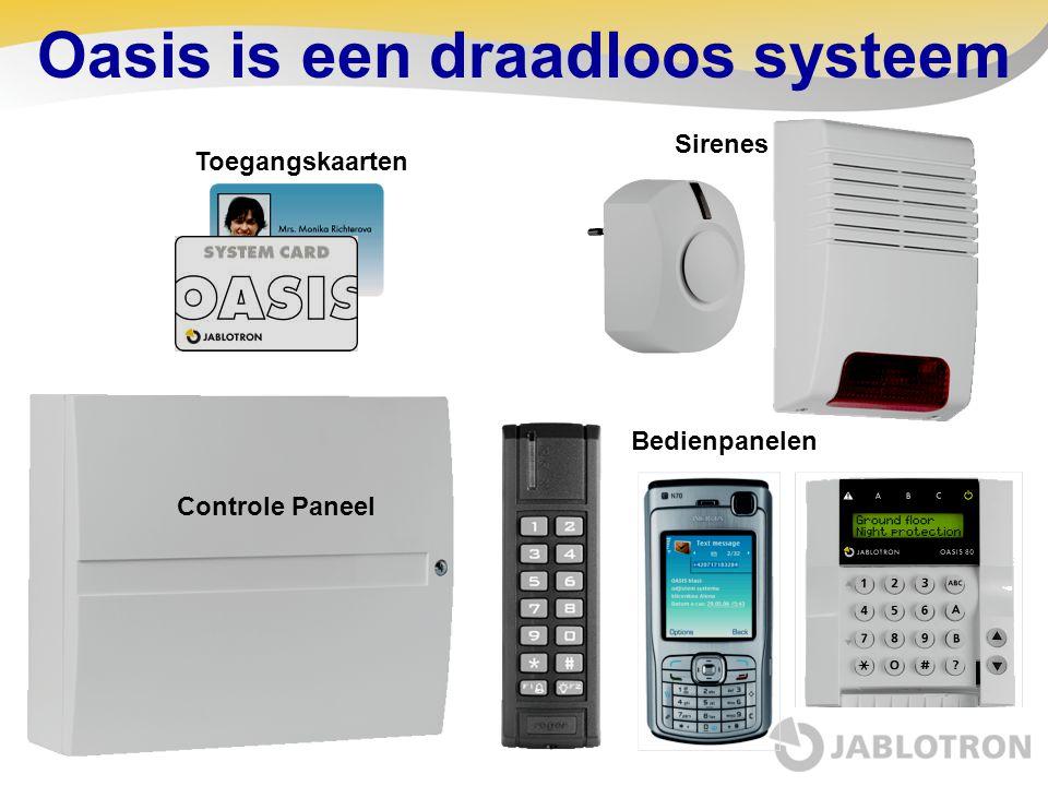 Oasis is een draadloos systeem Controle Paneel Sirenes Bedienpanelen Toegangskaarten