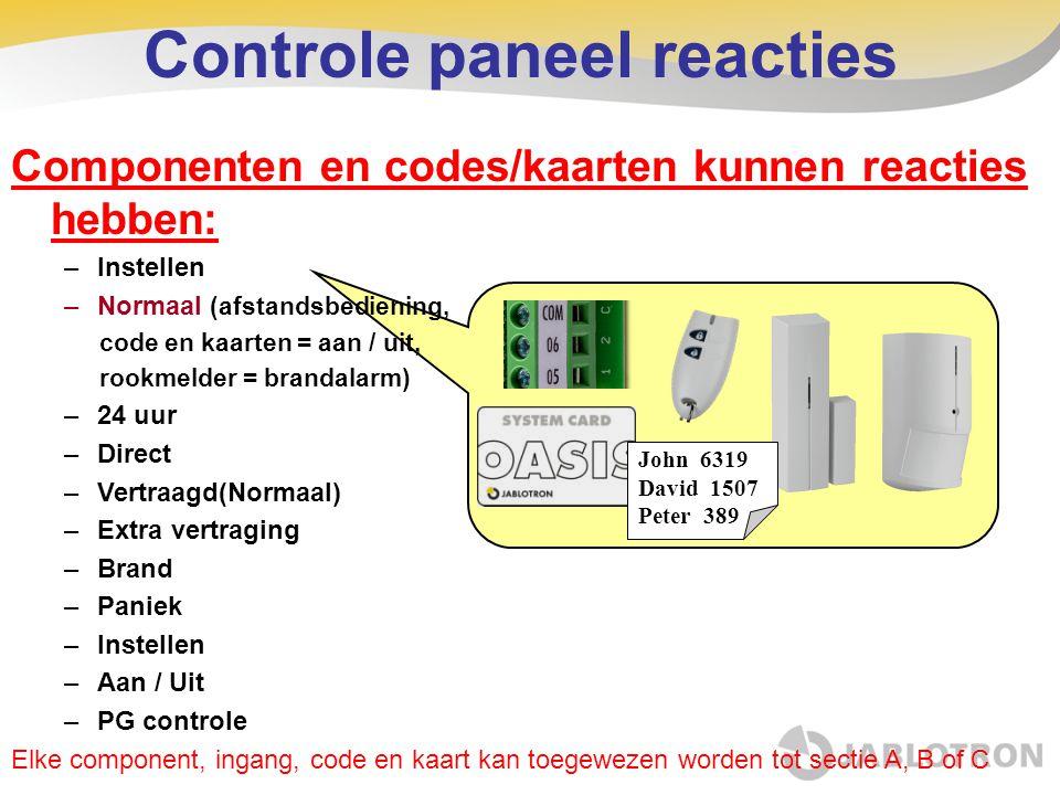 Controle paneel reacties Pepa 6319 Láďa 1507 Máňa 389 Componenten en codes/kaarten kunnen reacties hebben: –Instellen –Normaal (afstandsbediening, cod