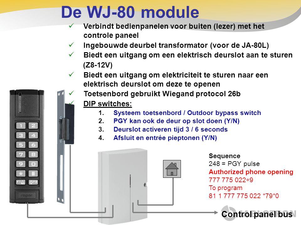 De WJ-80 module  Verbindt bedienpanelen voor buiten (lezer) met het controle paneel  Ingebouwde deurbel transformator (voor de JA-80L)  Biedt een u