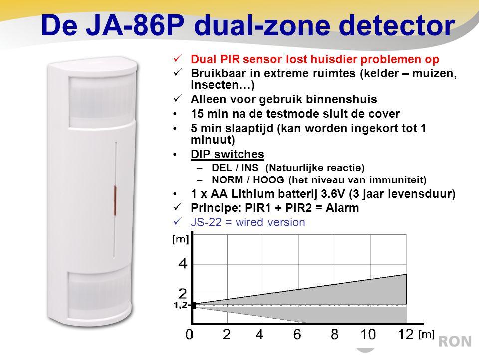 De JA-86P dual-zone detector  Dual PIR sensor lost huisdier problemen op  Bruikbaar in extreme ruimtes (kelder – muizen, insecten…)  Alleen voor ge