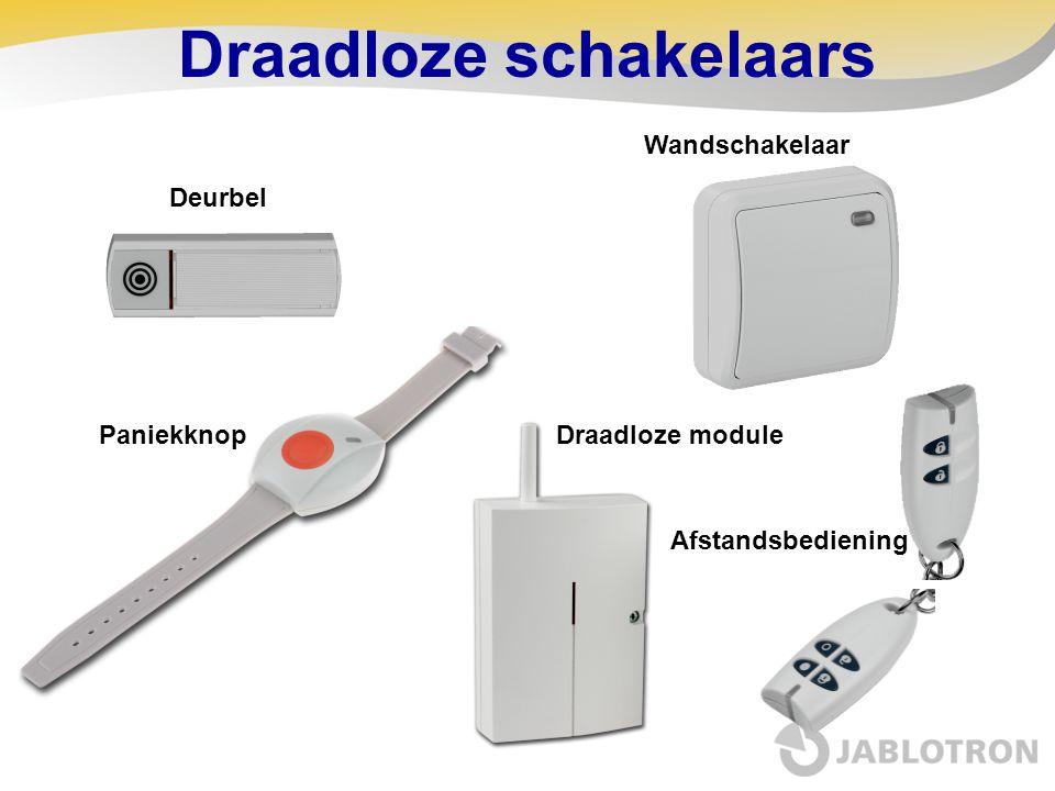 Installatie •De JA-80Q in het controle paneel  Foto overdracht van het terrein  Samen met een 80Y (GSM) of een 80V (LAN) communicator •Stel de detector in in het controle paneel •Stel een afstandsbediening in in het controle paneel  Sluit de behuizing van de detector  Druk op een willekeurige knop van de afstandsbediening •Camera test  Set (Arm) knop = met flits  Unset (Disarm) knop = zonder flits  De afstandsbediening wordt automatisch gewist na 15 minuten •Schakel radiostoring indicatie uit •De foto's kunnen worden weergegeven op: www.img.jablotron.com De JA-84P detector met ingebouwde camera Heeft uw portret genomen.…
