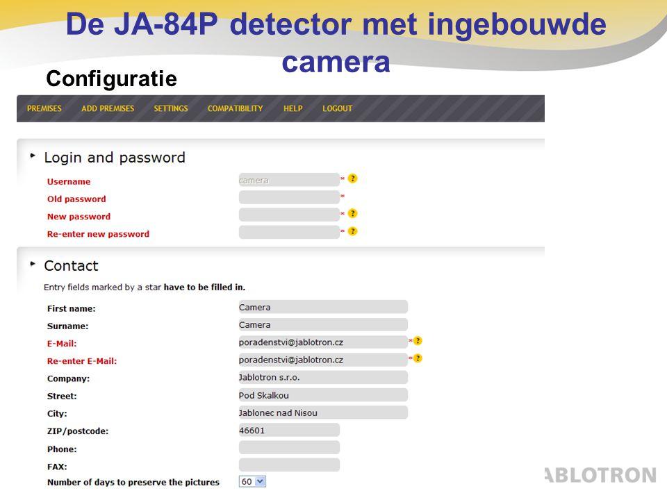 De JA-84P detector met ingebouwde camera Configuratie