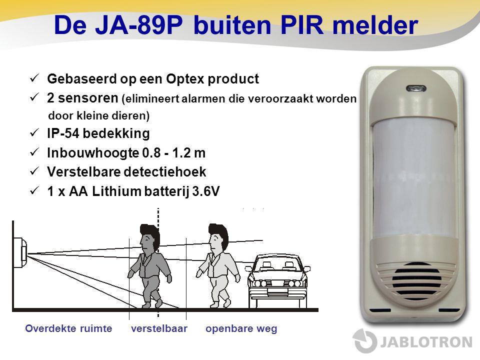 De JA-89P buiten PIR melder  Gebaseerd op een Optex product  2 sensoren (elimineert alarmen die veroorzaakt worden door kleine dieren)  IP-54 bedek