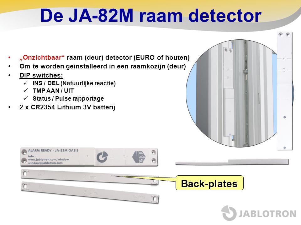 """De JA-82M raam detector •""""Onzichtbaar"""" raam (deur) detector (EURO of houten) •Om te worden geinstalleerd in een raamkozijn (deur) •DIP switches:  INS"""