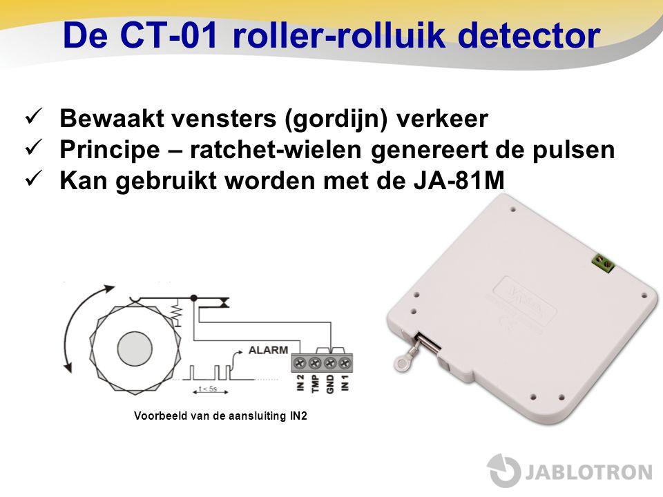  Bewaakt vensters (gordijn) verkeer  Principe – ratchet-wielen genereert de pulsen  Kan gebruikt worden met de JA-81M De CT-01 roller-rolluik detec