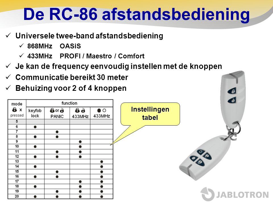 De RC-86 afstandsbediening  Universele twee-band afstandsbediening  868MHz OASiS  433MHz PROFI / Maestro / Comfort  Je kan de frequency eenvoudig