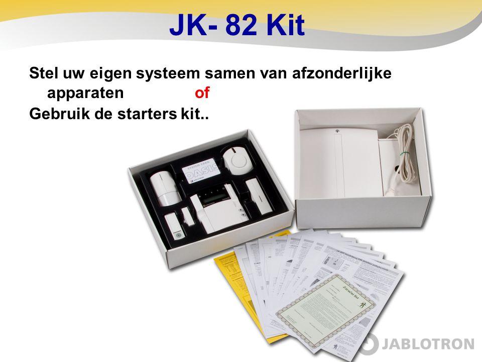JK-82 bestaat uit:  Controle paneel met GSM module  Draadloos bedienpaneel  PIR detector  Magneet contact  Binnensirene  Afstandsbediening  Draadloze deurbel  Toegangskaart  Accessoires (batterijen enz.)