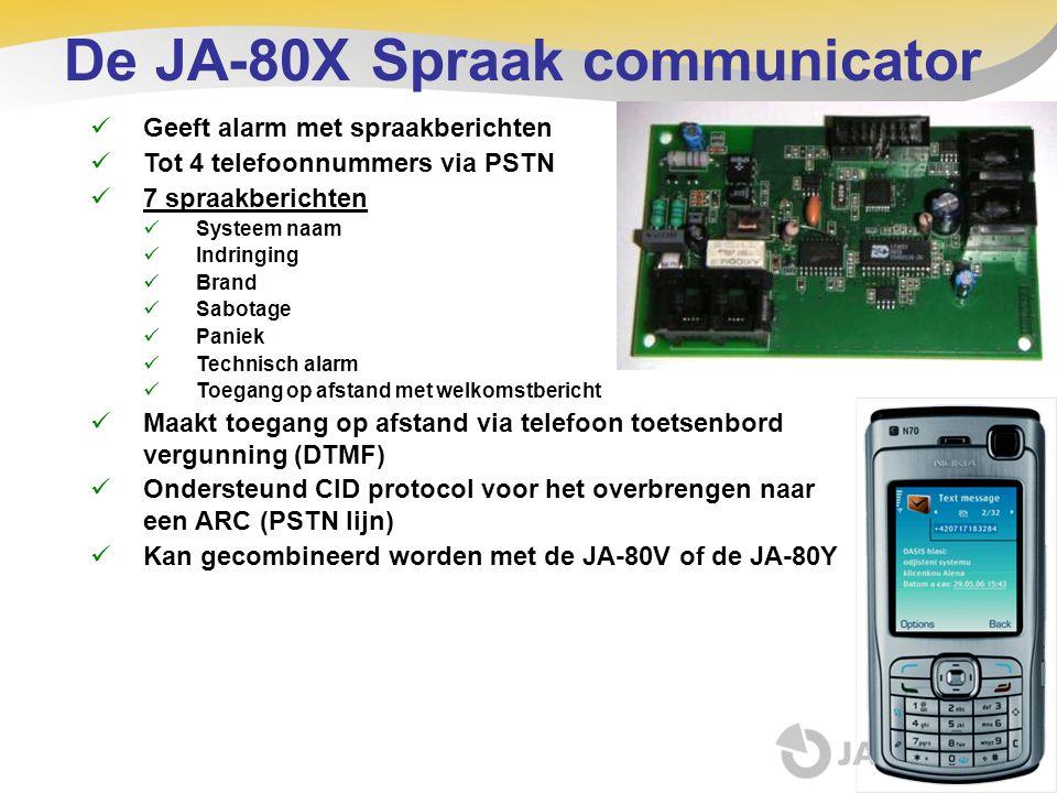 De JA-80X Spraak communicator  Geeft alarm met spraakberichten  Tot 4 telefoonnummers via PSTN  7 spraakberichten  Systeem naam  Indringing  Bra