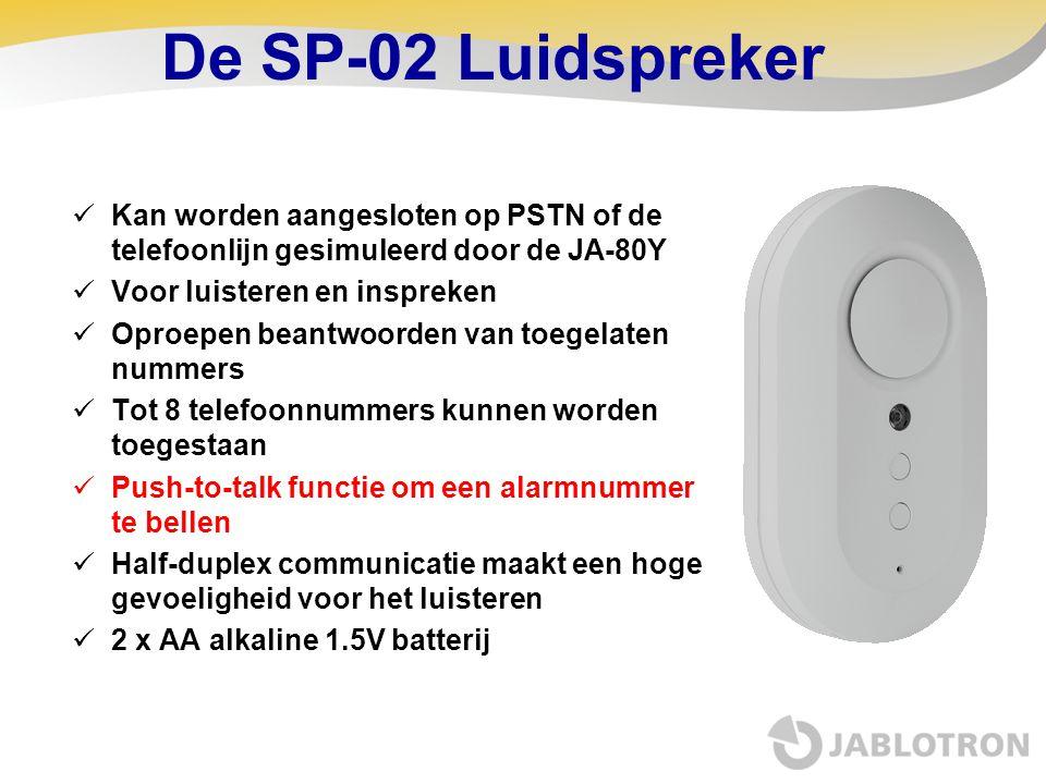 De SP-02 Luidspreker  Kan worden aangesloten op PSTN of de telefoonlijn gesimuleerd door de JA-80Y  Voor luisteren en inspreken  Oproepen beantwoor