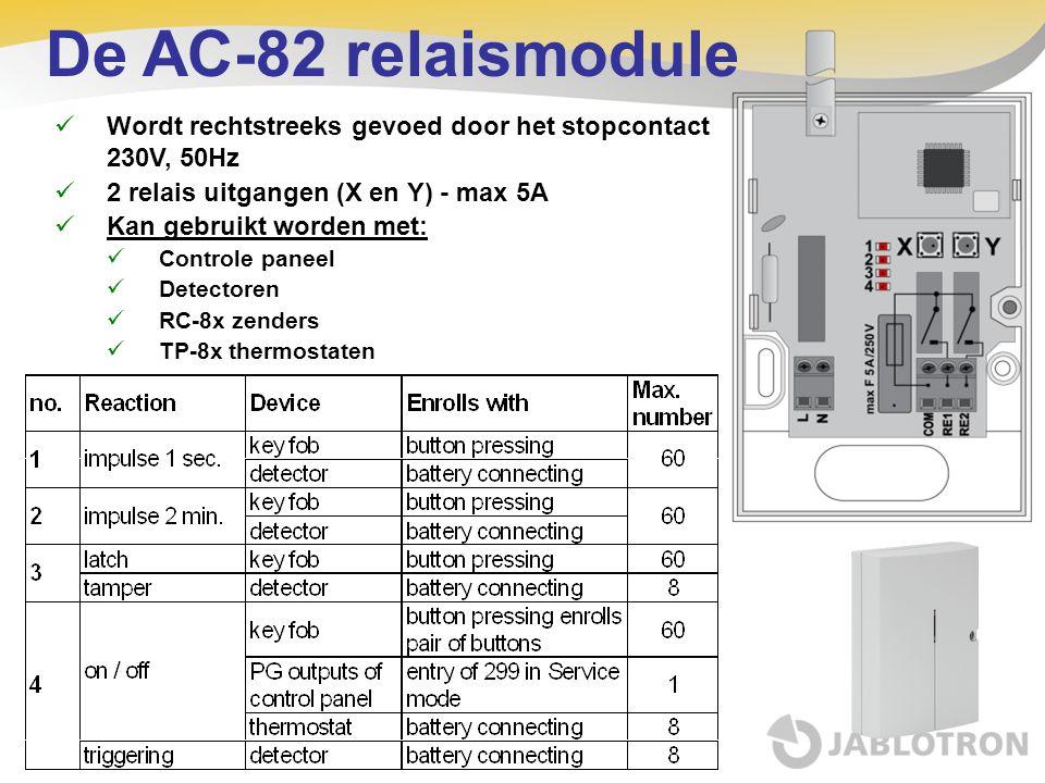 De AC-82 relaismodule  Wordt rechtstreeks gevoed door het stopcontact 230V, 50Hz  2 relais uitgangen (X en Y) - max 5A  Kan gebruikt worden met: 
