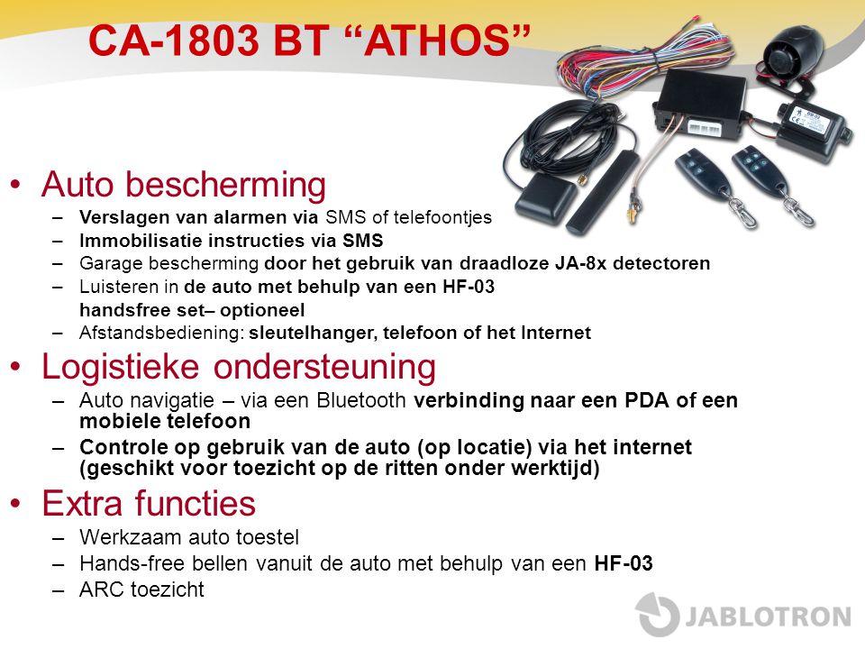 """CA-1803 BT """"ATHOS"""" •Auto bescherming –Verslagen van alarmen via SMS of telefoontjes –Immobilisatie instructies via SMS –Garage bescherming door het ge"""