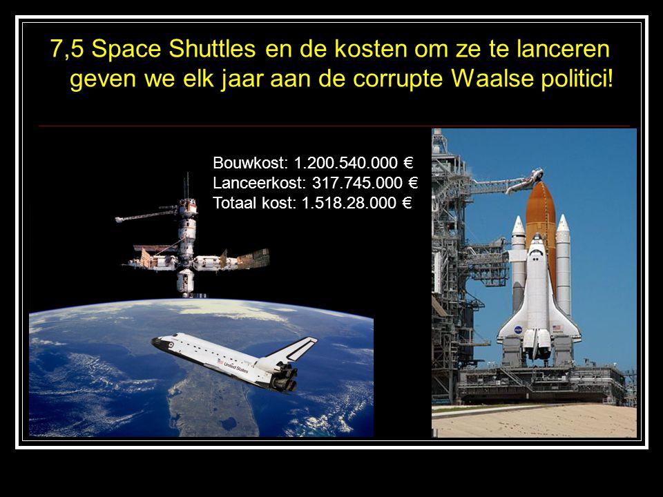 7,5 Space Shuttles en de kosten om ze te lanceren geven we elk jaar aan de corrupte Waalse politici! Bouwkost: 1.200.540.000 € Lanceerkost: 317.745.00
