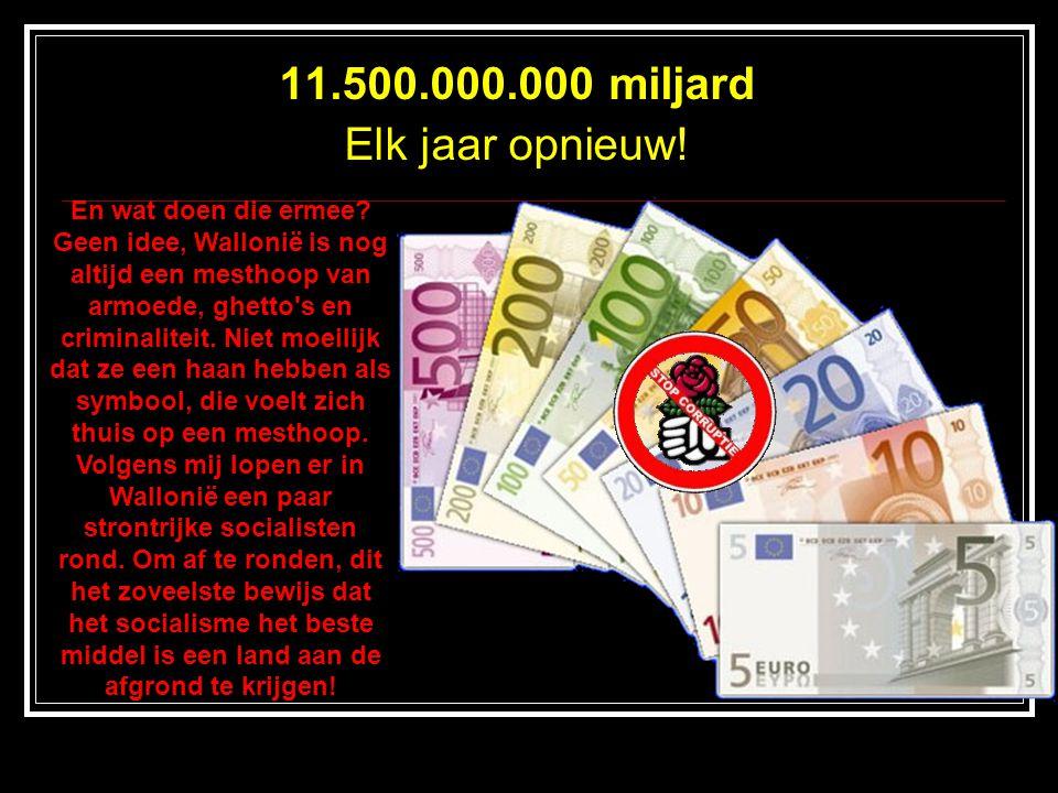 11.500.000.000 miljard Elk jaar opnieuw! En wat doen die ermee? Geen idee, Wallonië is nog altijd een mesthoop van armoede, ghetto's en criminaliteit.