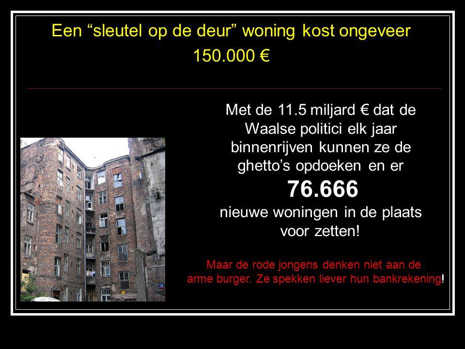 Een sleutel op de deur woning kost ongeveer 150.000 € Met de 11.5 miljard € dat de Waalse politici elk jaar binnenrijven kunnen ze de ghetto's opdoeken en er 76.666 nieuwe woningen in de plaats voor zetten.