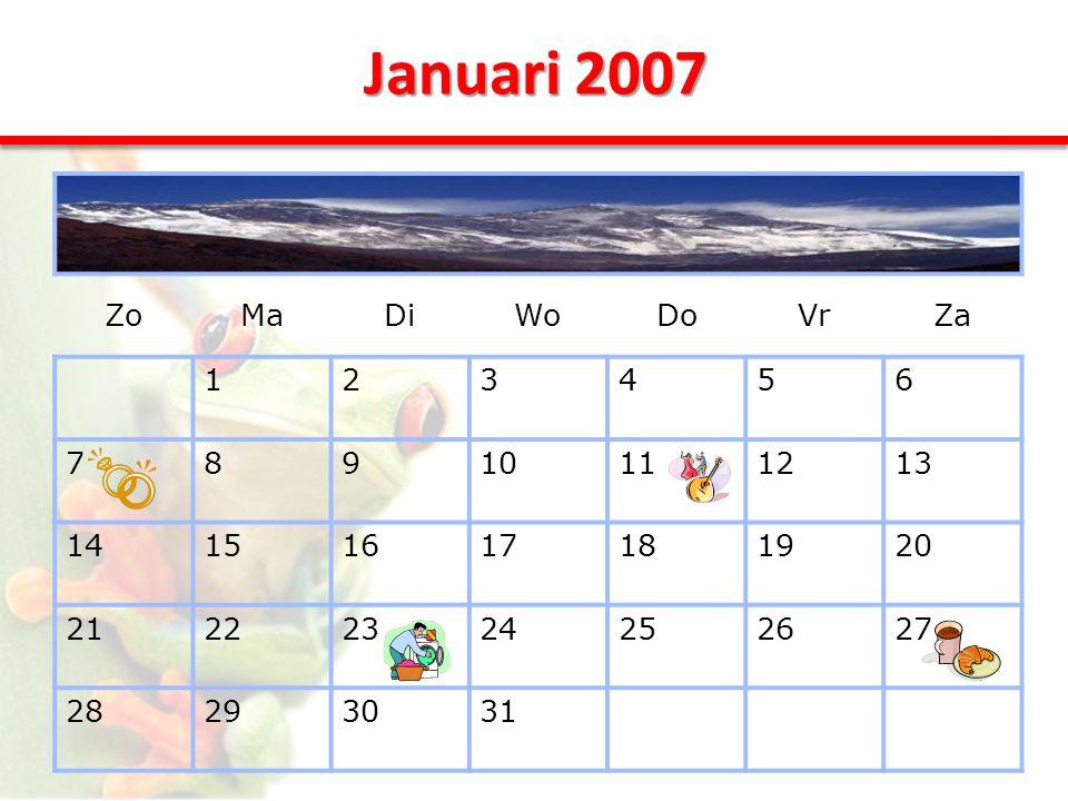 Januari 2007 ZoMaDiWoDoVrZa 123456 78910111213 14151617181920 21222324252627 28293031