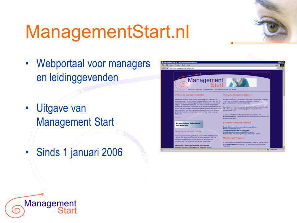 Waardevolle inhoud •ManagementStart.nl biedt praktisch toepasbare inhoud: •Artikelen •Sjablonen & Voorbeelden •Discussieforum •Nieuws en vacatures •Referenties / boeken