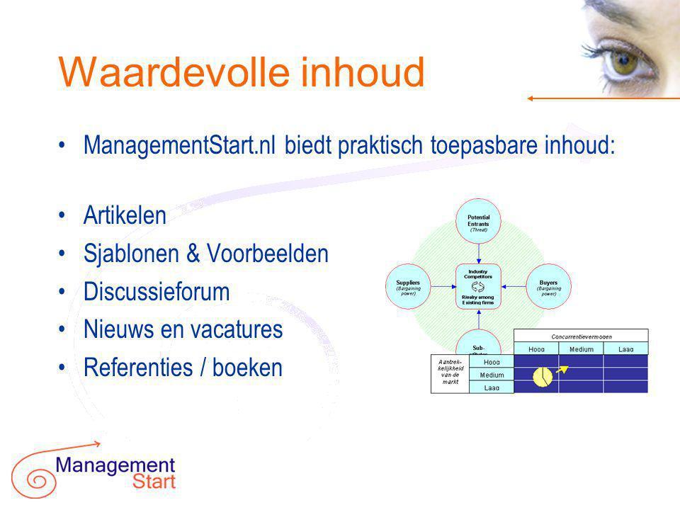 Visie op succes •ManagementStart.nl categoriseert informatie op basis van het eigen model: