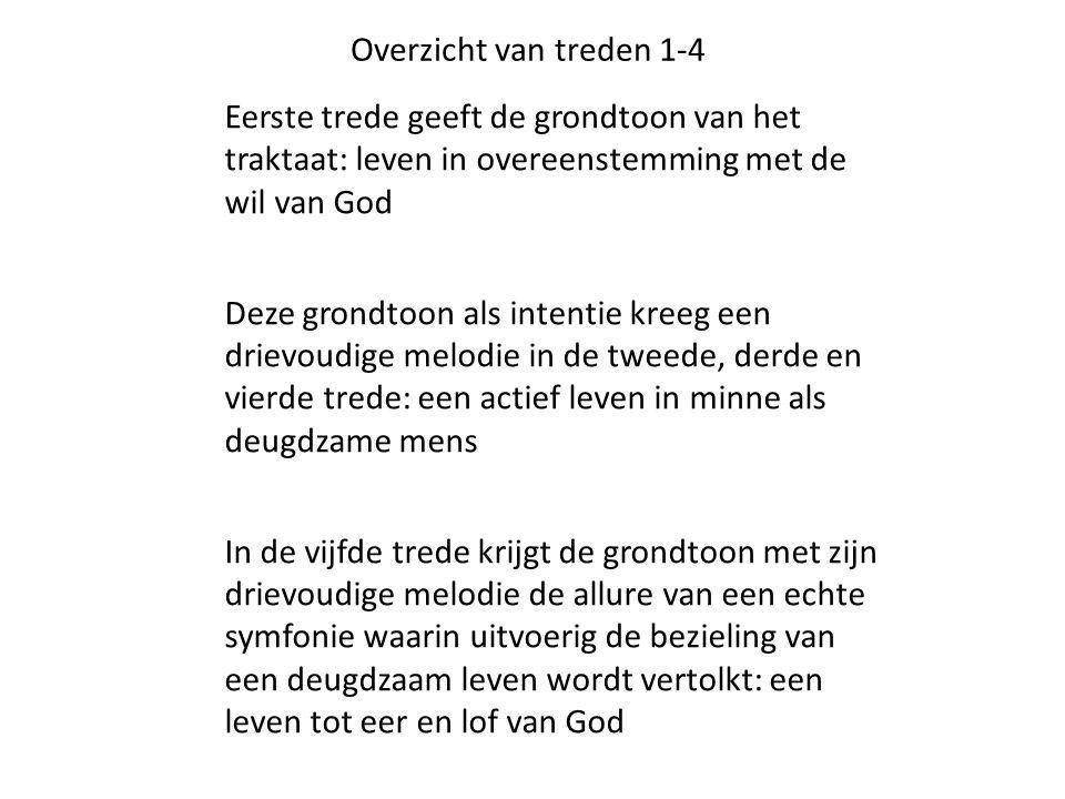 Overzicht van treden 1-4 Eerste trede geeft de grondtoon van het traktaat: leven in overeenstemming met de wil van God Deze grondtoon als intentie kre