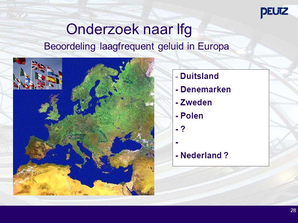 Onderzoek naar lfg 28 - Duitsland - Denemarken - Zweden - Polen - ? - - Nederland ? Beoordeling laagfrequent geluid in Europa