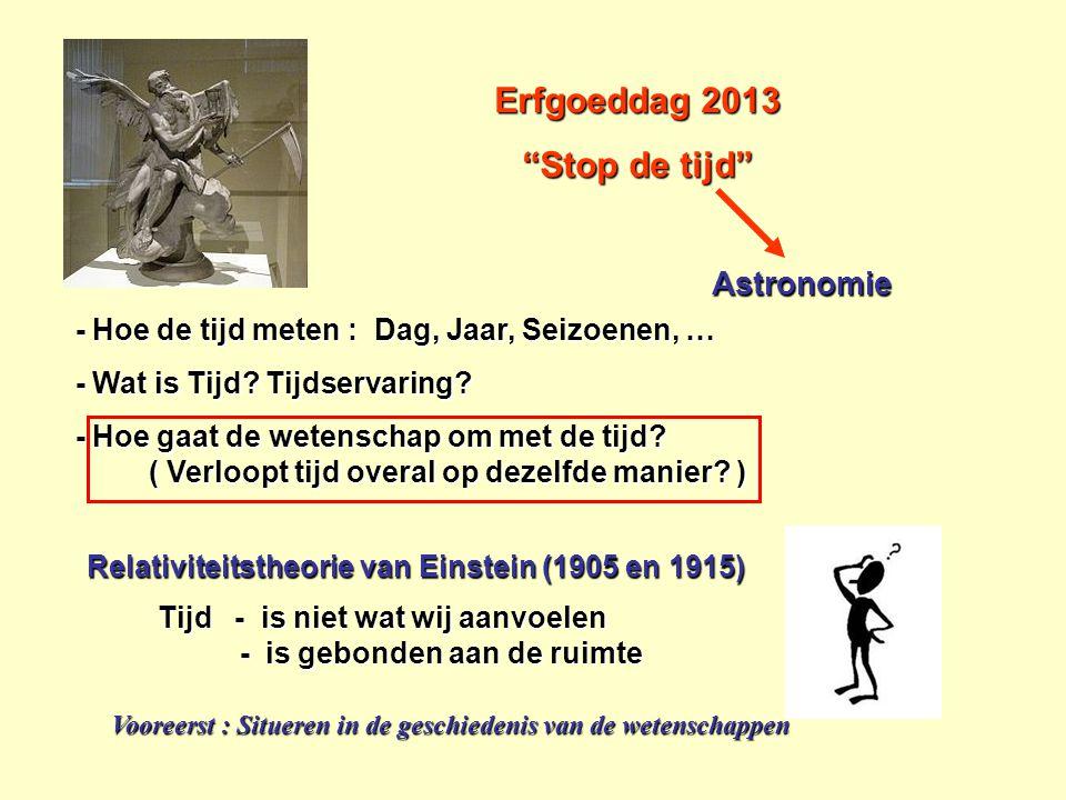 """Erfgoeddag 2013 """"Stop de tijd"""" - Hoe de tijd meten : Dag, Jaar, Seizoenen, … - Hoe de tijd meten : Dag, Jaar, Seizoenen, … - Wat is Tijd? Tijdservarin"""