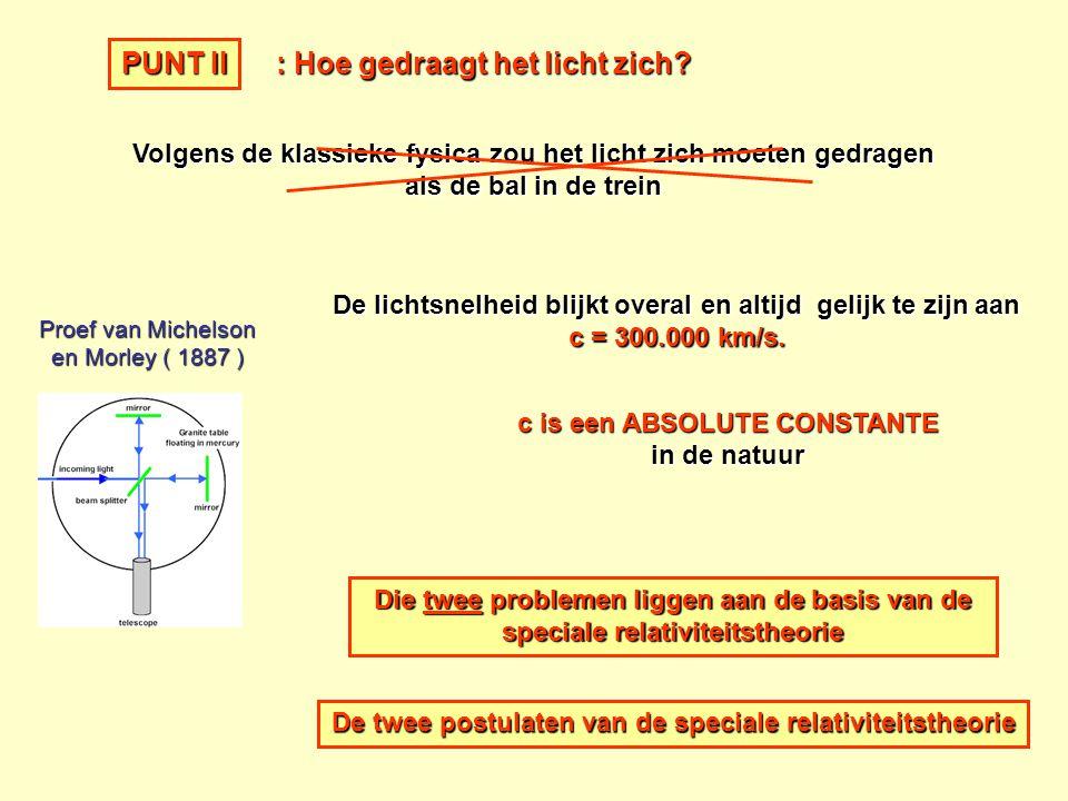 Proef van Michelson en Morley ( 1887 ) De lichtsnelheid blijkt overal en altijd gelijk te zijn aan c = 300.000 km/s. : Hoe gedraagt het licht zich? Vo