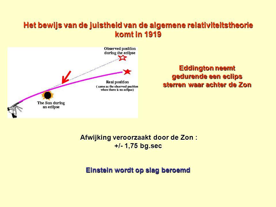 Het bewijs van de juistheid van de algemene relativiteitstheorie komt in 1919 Afwijking veroorzaakt door de Zon : +/- 1,75 bg.sec Afwijking veroorzaak