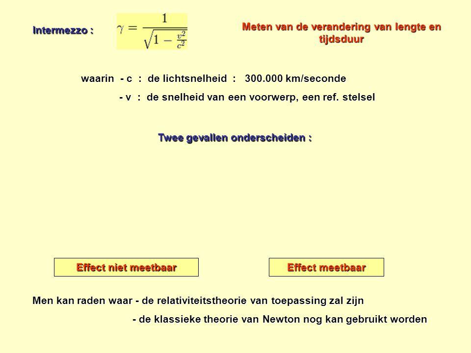 Intermezzo : waarin - c : de lichtsnelheid : 300.000 km/seconde - v : de snelheid van een voorwerp, een ref. stelsel - v : de snelheid van een voorwer