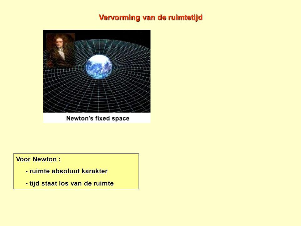 Geen massa in de omgeving betekent dus geen vervorming van de ruimtetijd. Voor Newton : - ruimte absoluut karakter - ruimte absoluut karakter - tijd s