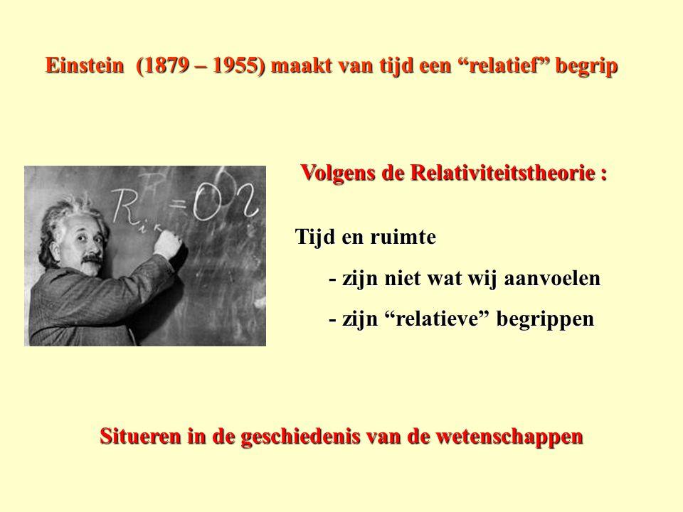 """Volgens de Relativiteitstheorie : Einstein (1879 – 1955) maakt van tijd een """"relatief"""" begrip Tijd en ruimte - zijn niet wat wij aanvoelen - zijn niet"""