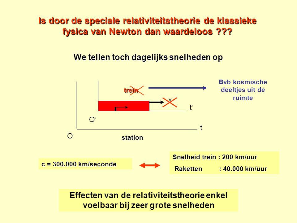 Is door de speciale relativiteitstheorie de klassieke fysica van Newton dan waardeloos ??? We tellen toch dagelijks snelheden op t' t O' trein O stati