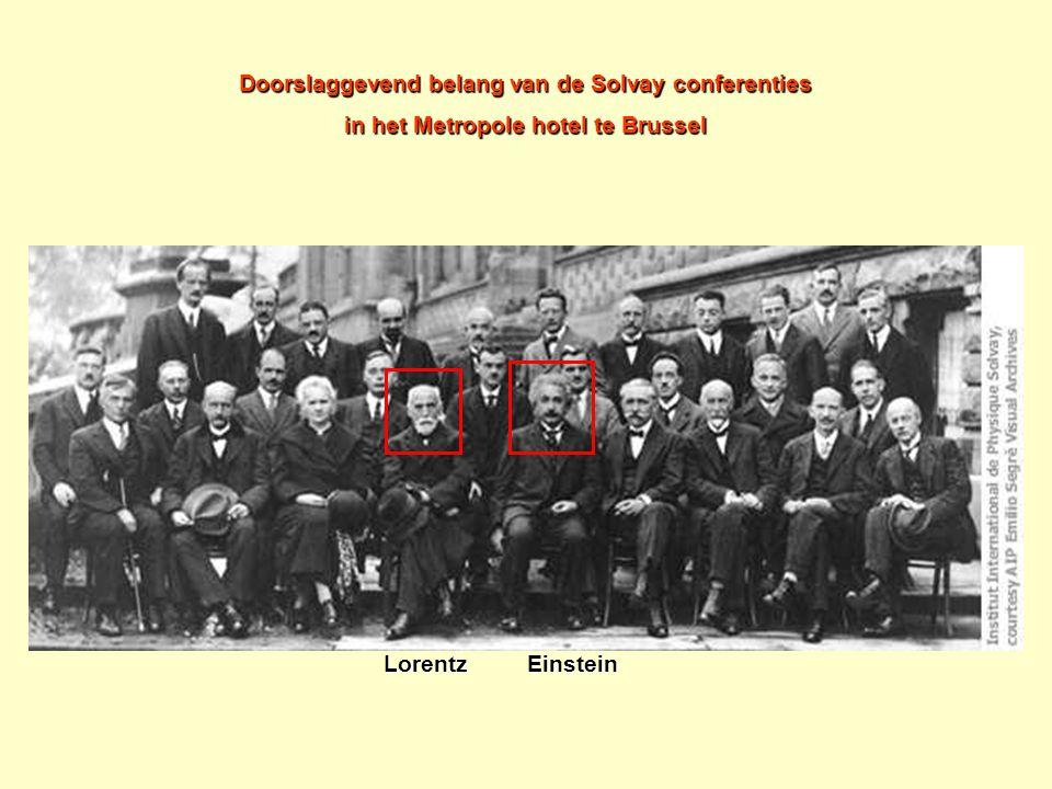 Doorslaggevend belang van de Solvay conferenties in het Metropole hotel te Brussel Lorentz Einstein Lorentz Einstein
