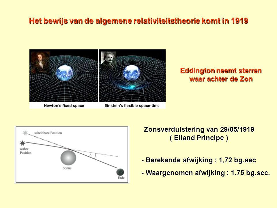 Het bewijs van de algemene relativiteitstheorie komt in 1919 Zonsverduistering van 29/05/1919 ( Eiland Principe ) - Berekende afwijking : 1,72 bg.sec